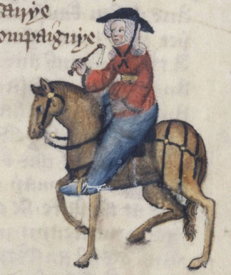 Wife of Bath illustration from Ellesmere Chaucer