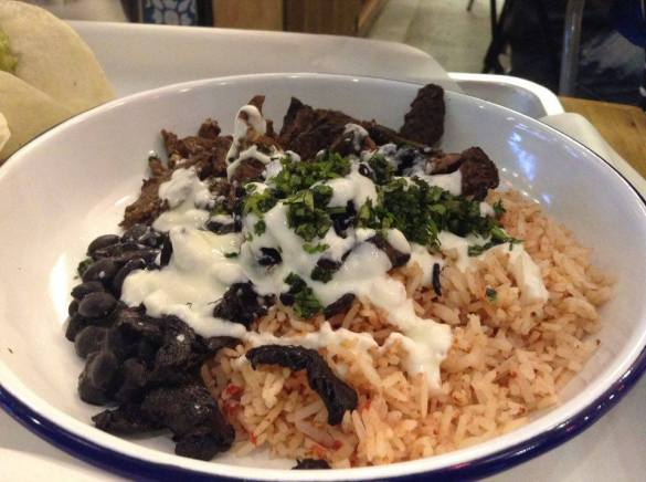 Carne asada (beef) rice plate.