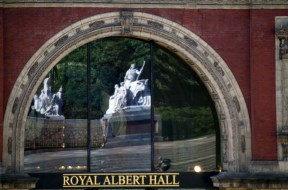 Queen Victoria Memorial reflected in window of Royal Albert Hall