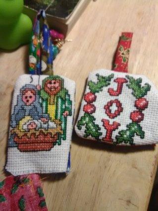 slob, humor, cross stitch ornaments