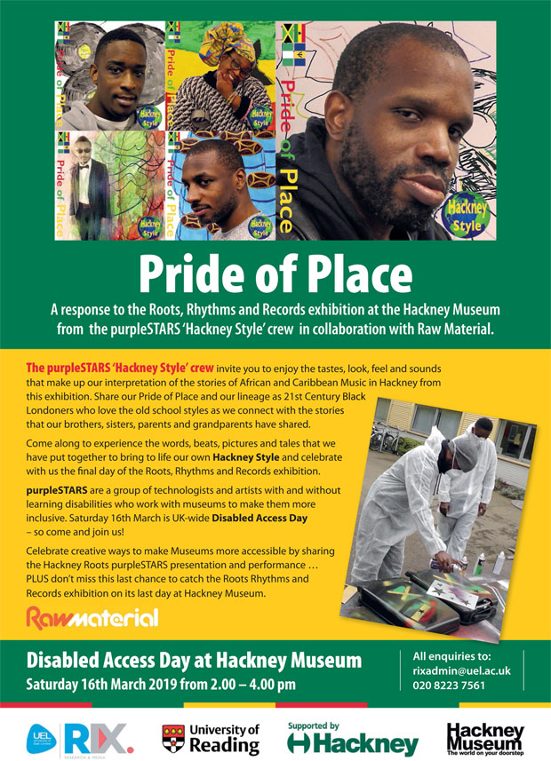 Poster for Pride of Place, A response to the Roots Rhythms and Records exhibition at Hackney Museum. Shows record covers and spray painting a suitcase with the flags of Jamaica, Nigeria, Ghana and Barbados.