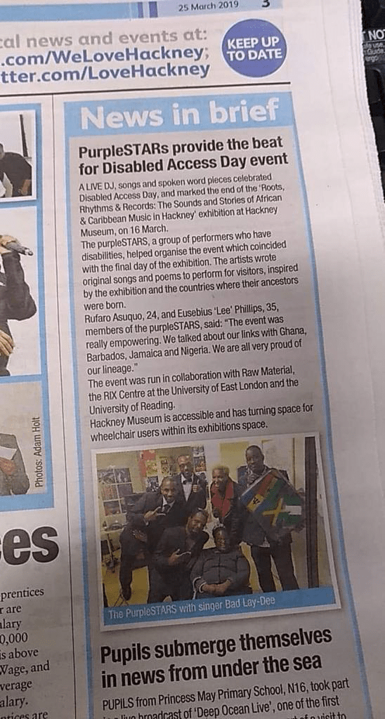 Hackney Local paper 25.03.2019 featuring purpleSTARS at Hackney Museum on Disabled Access Day