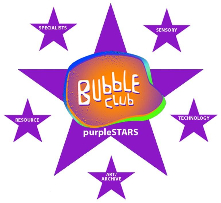 purpleSTARS logo with BubbleClub logo