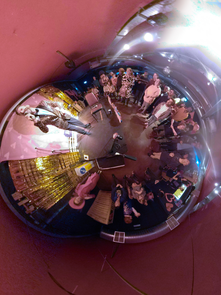 purple STARS Kassie and Santino did a bit of 360 filming this is a 360 image of Bubble Club Blind Date Night.