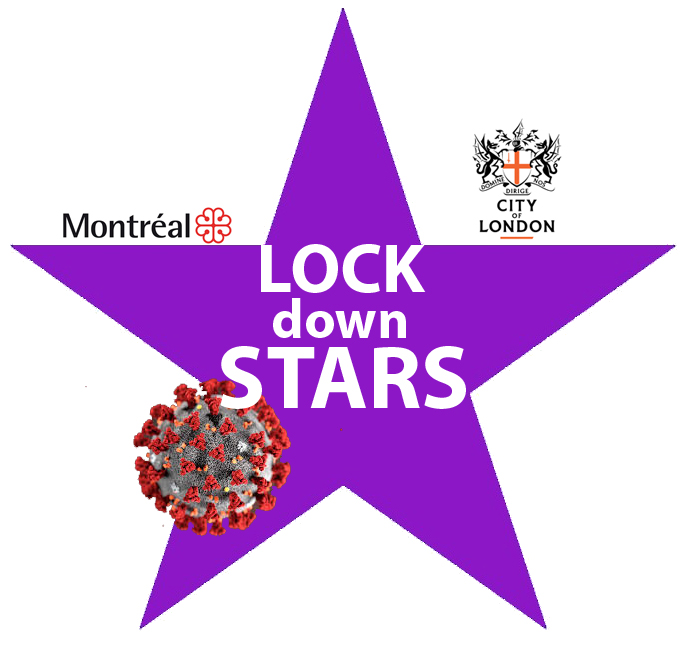 purple Star logo with image of corona virus, Motréal and London logo
