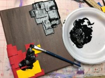 Painting the fun foam with black gesso