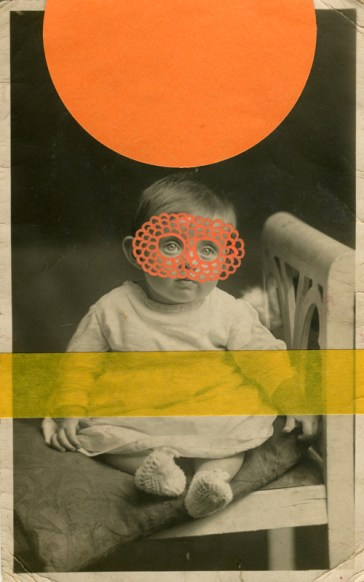 Orange collage on vintage baby portrait.
