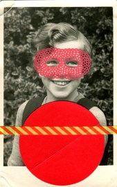 Red collage on vintage girl portrait.
