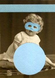 Light blue collage on vintage child portrait.