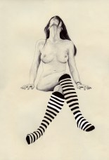 Black and white illustration of a woman with striped socks.