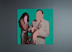 Vinyl cover of a couple portrait manipulated with acrylics.