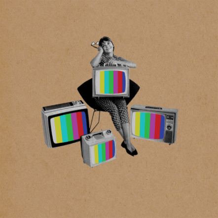 Surreal style collage of a woman sit on a chair surrounded by televisions.