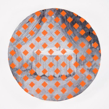 Round painting of a white table layered with orange diamond shapes.