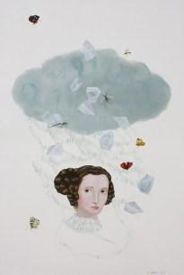 Portrait of a woman head with a light blue cloud.