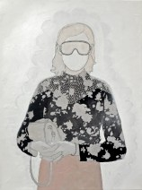 Artwork of a woman portrait that is handing a bag manipulated.