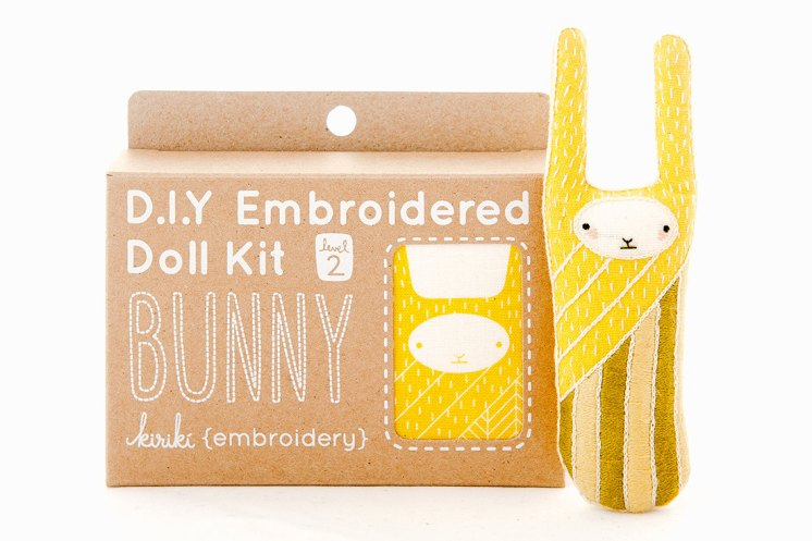 Still like photo of an embroidery kit to create a bunny.