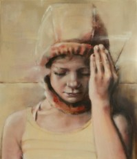 Painting of a little girl portrait with an orange hood.