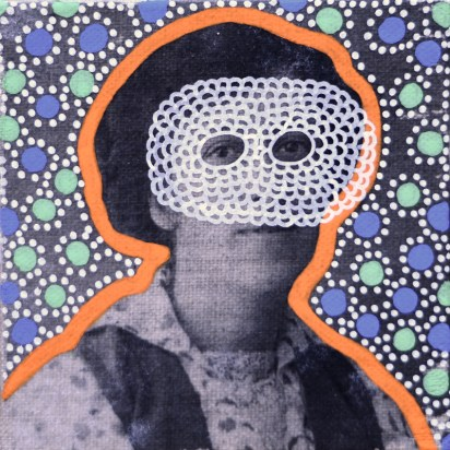 Collage on canvas of a vintage masked woman portrait decorated with pens.