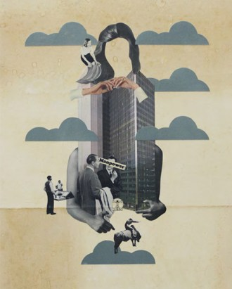 Photo of an handmade collage of a defaced woman, a building, and clouds.