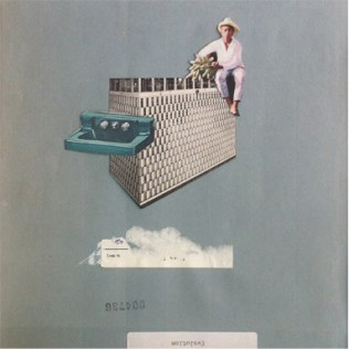 Photo of an handmade collage of a man sat over a building.