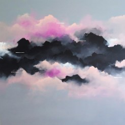 Painting of a group of clouds coloured in pink and black with a grey background.