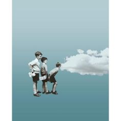 Surrealist collage of a group od three kids looking inside a cloud.