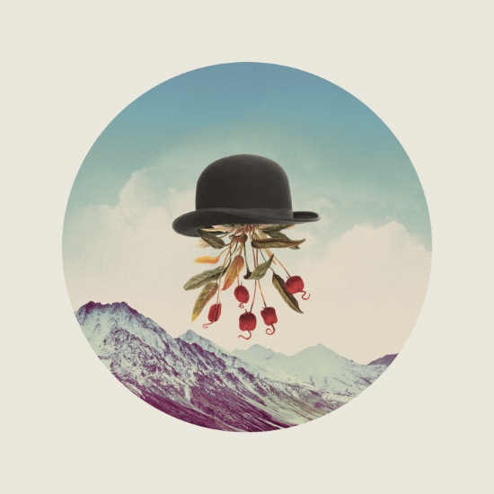 Surrealist collage of a bowler hat floating in the sky with flower coming out it.