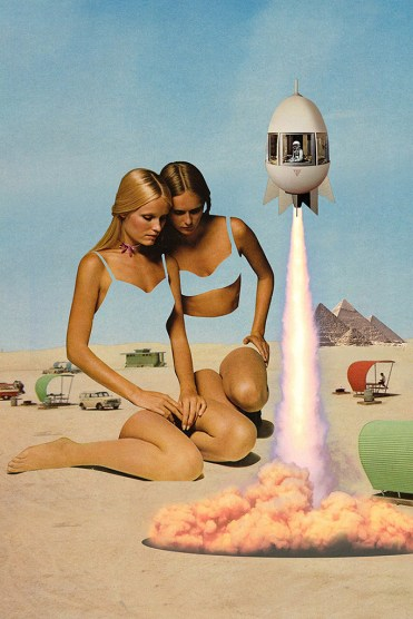 Surreal collage of two giant women surrounded by an Egyptian landscape with a missile flying aside them.