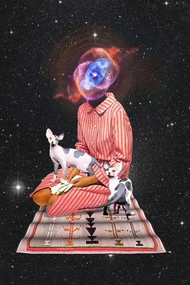 Surreal collage of a faceless woman with two cats on a carpet that is flying in the universe.