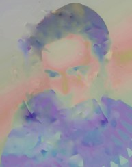 Blurry female portrait coloured with purple and pink pastel colours