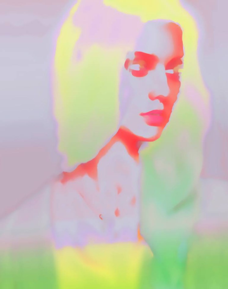 Blurry woman portrait with glowing and vibrant colours combinations as fluo pink, fluo yellow, fluo green and fluo orange-red.