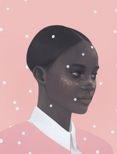 Illustration of a three quarter profile woman portrait with white dots falling over and around her.