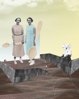 Digital collage of two women with light blue and pink dresses handing giant spoons on an abstract landscape.