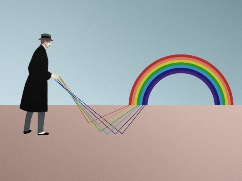 Ditigal collage of a man with a black coat and a grey hat that is creating a rainbow with his hands.