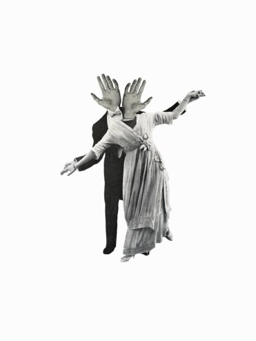 Digital collage of a couple dancing without the head, and with hands as heads.