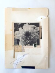 Collage of a flower photo putted over some found vintage papers.