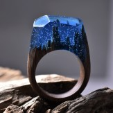 Still life photo of a ring with a tiny landscape inside.