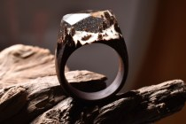 Still life photo of a ring with a snowy tiny landscape inside.