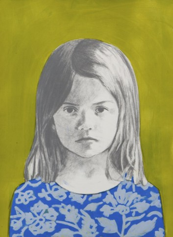 Oil portrait of a young girl with a blue dress with light blue flowers decorations. The background is mustard coloured.