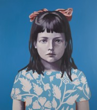 Oil portrait of a young girl with a light blue dress decorated with white flowers and a pink ribbon on her hair. The background is a deep blue colour.