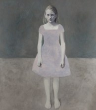 Full body portrait of a young girl with a pink dress and a brown-grey background.