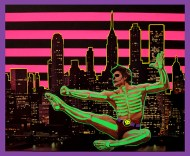 Collage of a dancer floating in the air with a paper fluo gren skeleton over him. In the background of the subject there is a night skyline.