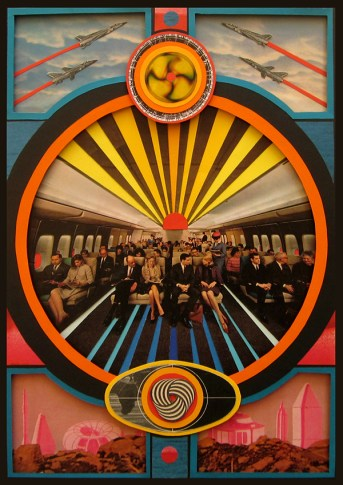 Collage made of coloured paper with a vintage image of people on a plane in the centre.