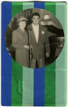Collage done over a vintage photo of two people smiling at the camera. The portrait was decorated with stripes of green and blue washi tape.