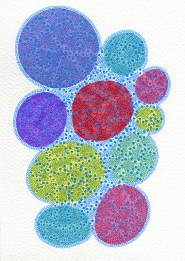 Abstract collage of organic and geometric forms of different colours decorated with a crochet texture.
