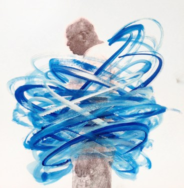 Man portrait with the body covered with blue acrylic stripes.
