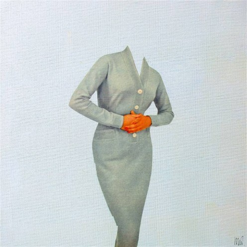 Collage of an elegant headless woman.