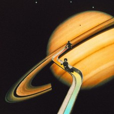 Collage of two kids on a slide with Saturn planet as a background.
