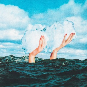 Collage of two woman hands going out from the sea and keeping a giant cloud over it.