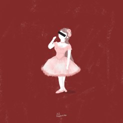 Illustration of a ballerina surrounded by a red wine background.